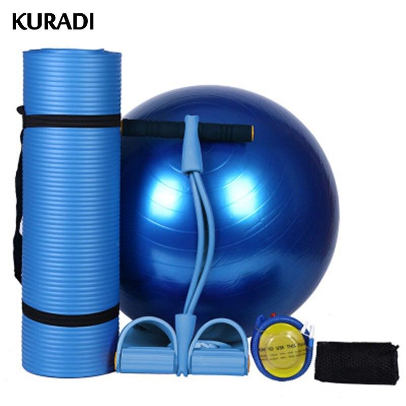 3 couleurs Yoga balle tapis ensemble 65 cm Fitness Gym gymnastique extracteur Ballon Fitball corde à sauter Pilates balle exercice avec pompe à Air