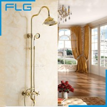 цена на Wall Mounted Gold Plate Bathtub Faucet Double Handle antique Brass Mixer Tap Bath & Shower Faucets Wholesale