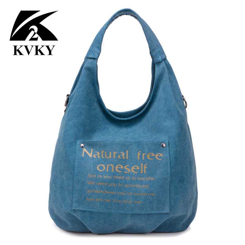 KVKY High Quality Canvas Women Bag Handbag Casual Large Capacity Hobos Female Totes Bolsas Vintage Solid Woman Shoulder Bag Sac rivet bag for women casual large capacity tote handbag horizontal vertical type useful shopping bag necessity sac bolsas new2015