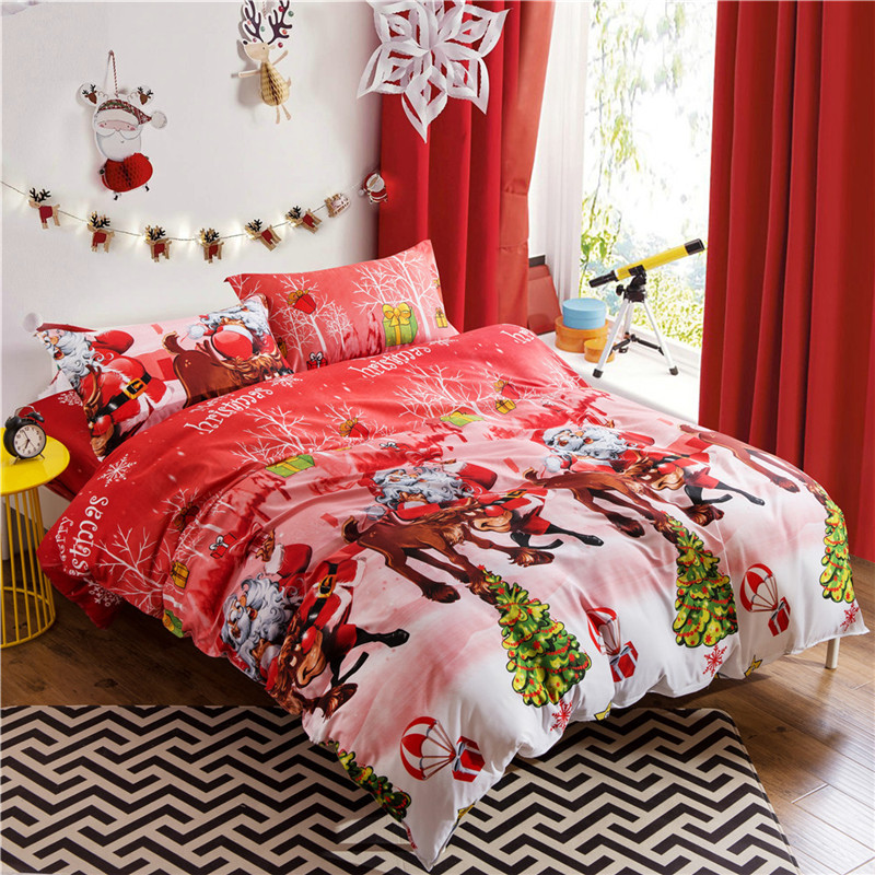 4pcs Christmas 3D bedding set Cartoon Santa Claus duvet cover Xmas gift bed sheet pillowcase queen bed cover set for Adults Kids