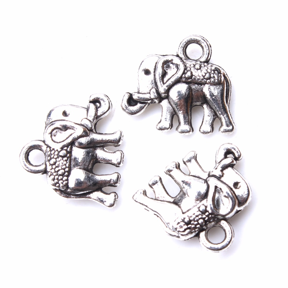 10pcs/lot 12*13mm Cute Alloy Elephant Pendant Antique Silver Color Animal Bracelet Charms Jewelry Components Making