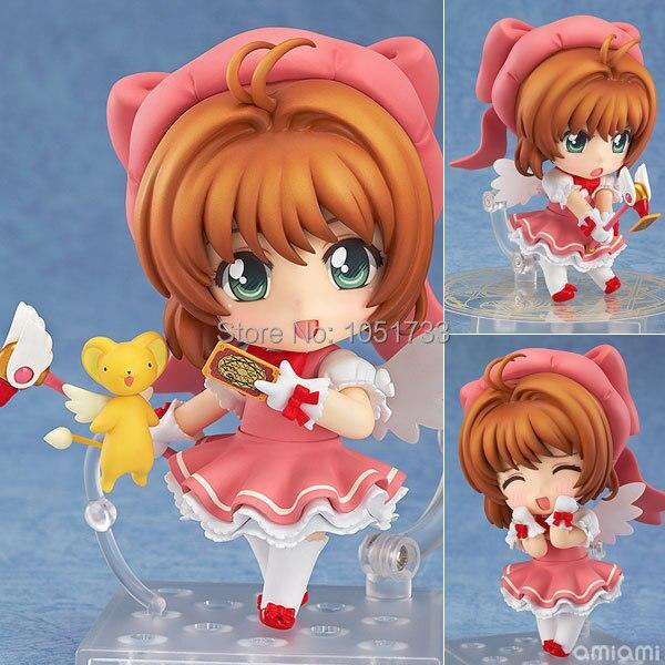 "Free Shipping Cute 4"" Nendoroid Card Captor Cardcaptor Sakura 10cm Boxed PVC Action Figure Set Model Collection Toy Gift #400"