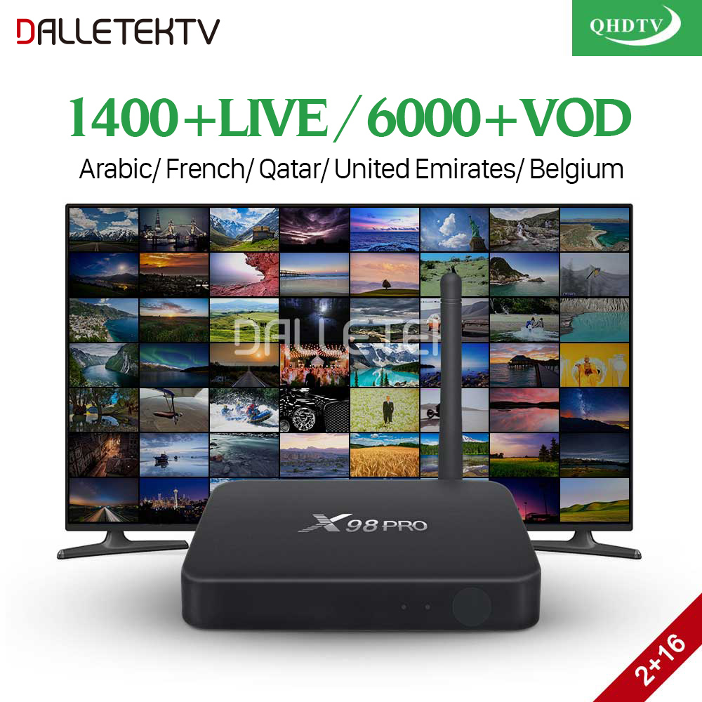 QHDTV French IPTV Subscription Box Android 6.0 X98 Pro with IPTV Tunisia Algeria Lebanon Arabic France Belgium Netherlands IP TV
