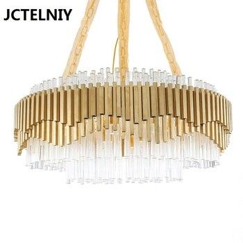 الحديثة ضوء ثريا فاخرة الأزياء الذهب غرفة المعيشة الديكور شمعدان دائري شريط مستطيلة الكريستال أضواء