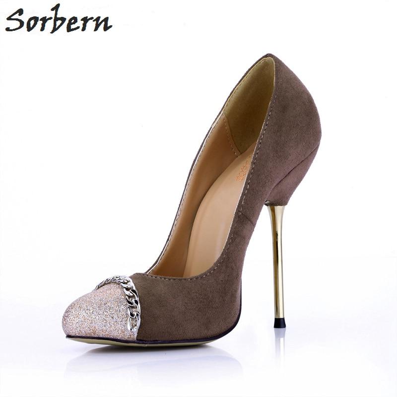 Sorbern Coffee Women Shoes High Heel Metal Gold Heels Pumps Women Slip On Rivets Chain Glitter Ladies Shoes Big Size Faux Suede