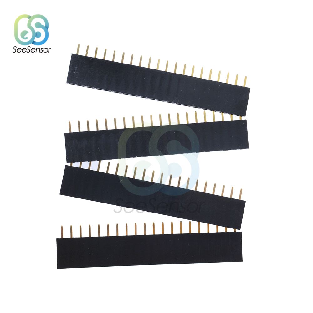 10Pcs 1X20 PIN Single Row Straight Female Pin Header 2.54mm Pitch Strip Connector Socket 20p 20PIN 20 PIN For PCB