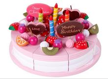 Simulation fruit cake,exempt postage wooden toys,Christmas fruit birthday cake pretend play with toys,Gifts for children diy simulation fruit cake birthday toys set 54pcs