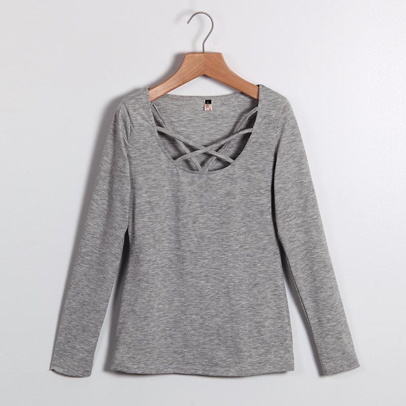 HTB1PdblMVXXXXb8aXXXq6xXFXXXA - Autumn T Shirt Women Long Sleeve Slim Fit Solid