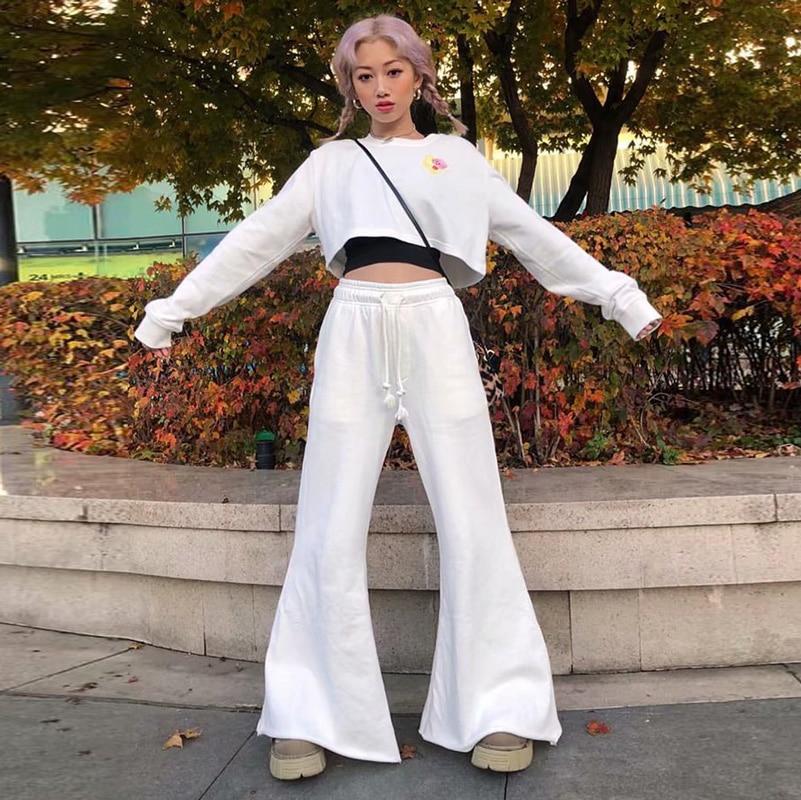 2019 iamgia white black bell bottoms cotton streetwear   pants   cargo   pants     wide     leg     pants   trousers woman autumn winter