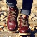 2016 Brand New Мужская Мода Сапоги Дизайнер Мотоциклах Пинетки Из Натуральной Кожи Мартин Туфли На Платформе Бота Мужские Открытый Пинетки