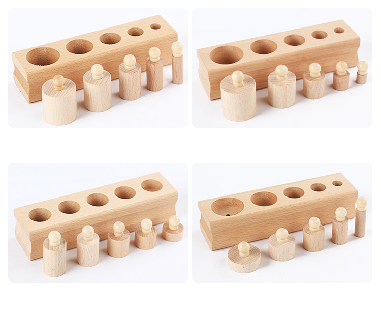 Russian warehouse Wooden toys Montessori Educational  Knobbed Cylinder Socket Blocks Toy Baby Development Practice and Senses