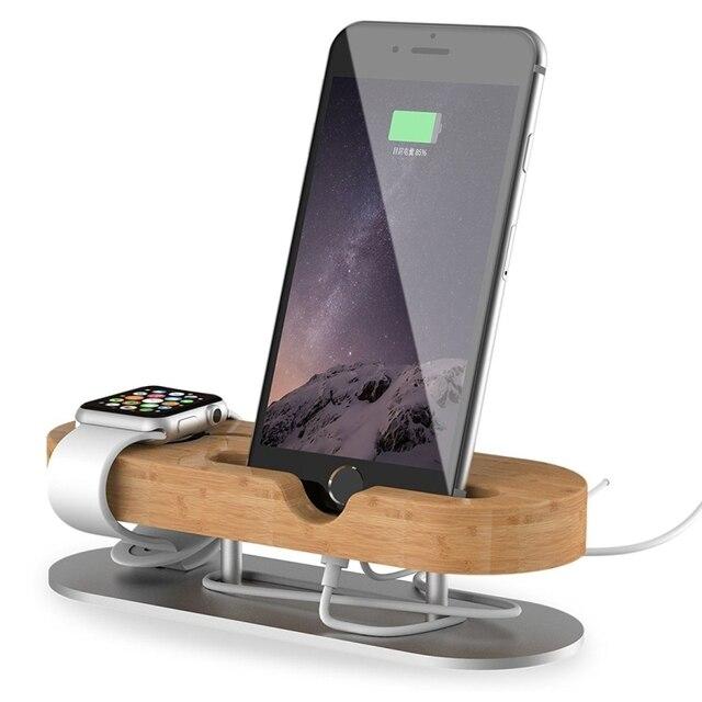 Смарт-часы Подставка для зарядки дерево + алюминий Материал рабочего стола телефона и смарт-часы Secure Подставка для зарядки Держатель