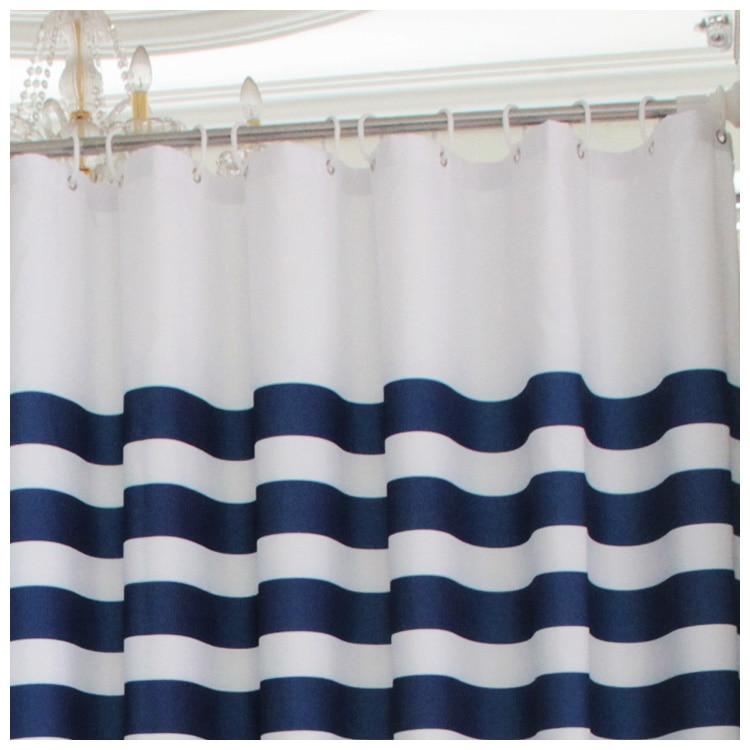 zhh moderne style marine europeenne classique bleu et blanc mildiou impermeable salle de bains rideau bleu marine rayures rideau de douche