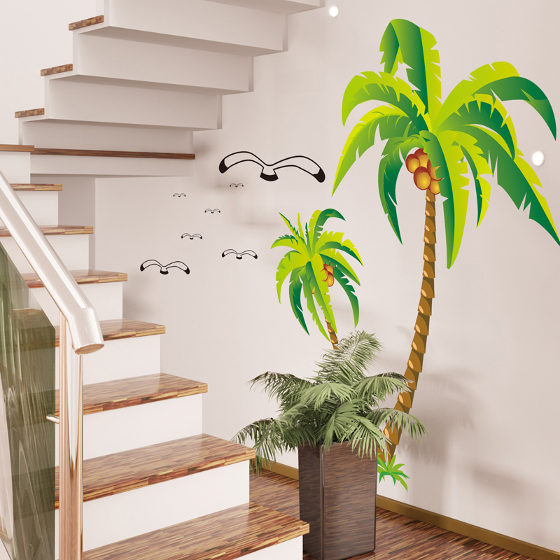 Beach Palms Coconut Tree Seagulls Birds Wall Sticker Waterproof Removable Diy Wall Decor Kids Bedroom Home Decoration Mayitr
