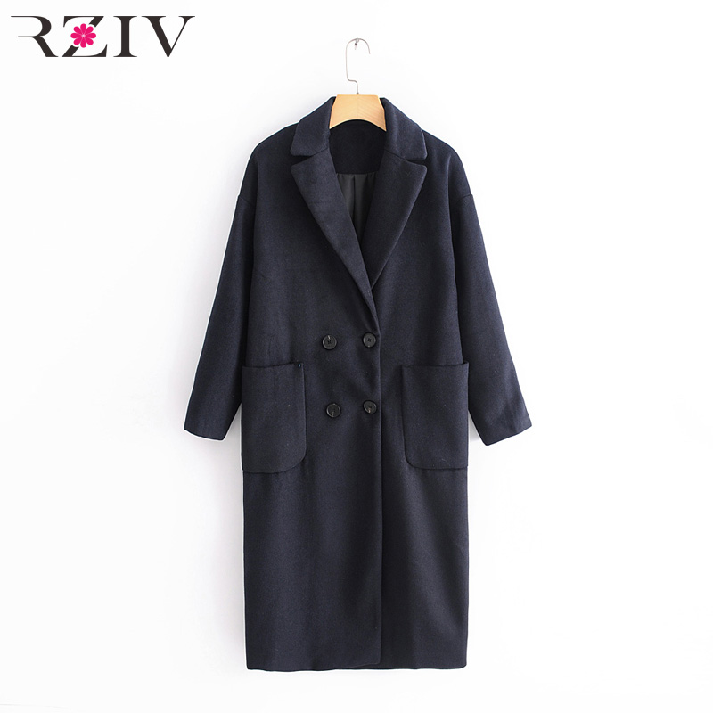 RZIV Autumn winter women coat pocket decoration casual solid color double breasted long coat