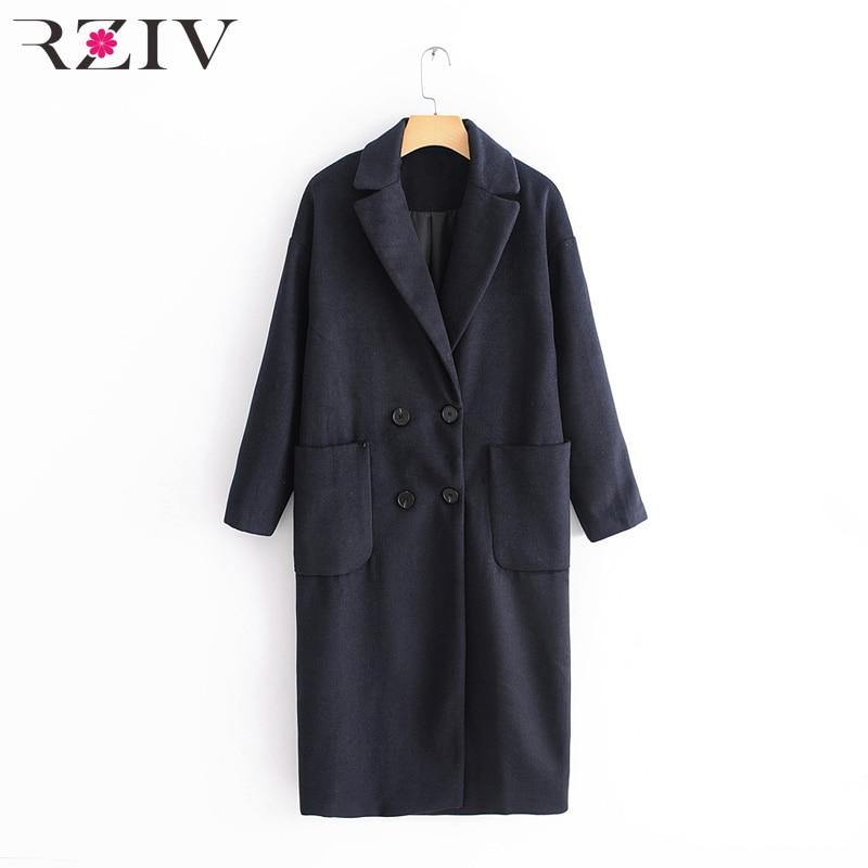 RZIV 秋冬女性コートポケット装飾カジュアルソリッドカラーのダブルブレストロングコート  グループ上の レディース衣服 からの ウール混紡 の中 1