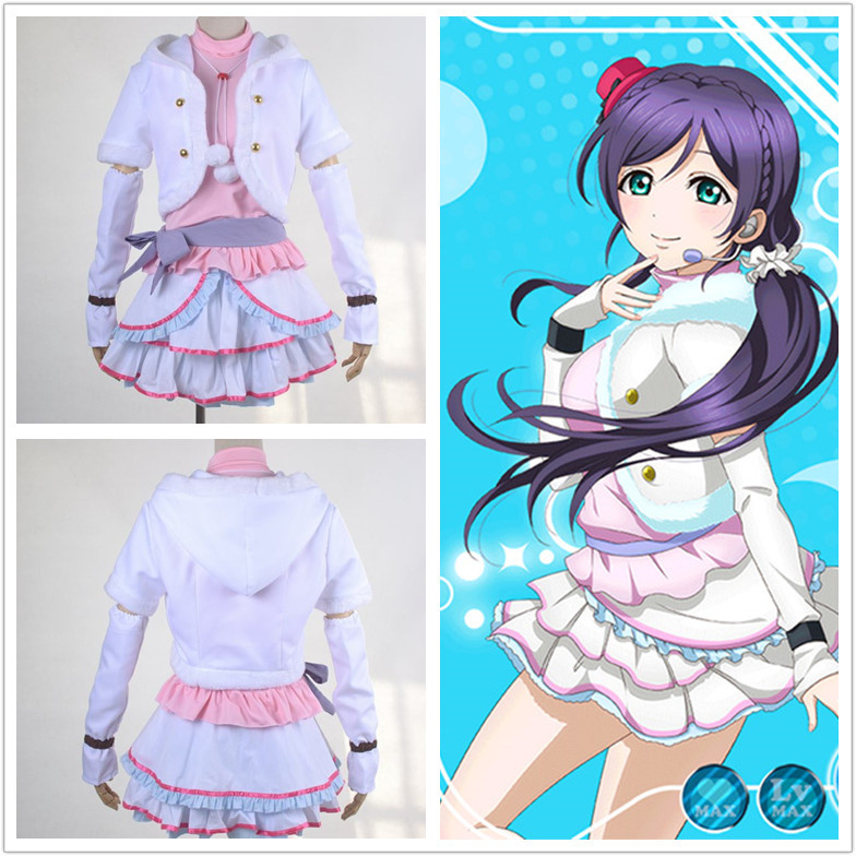 LoveLive! SNOW HALATION Tojo Nozomi cosplay costume White Dress Suit for Girls Halloween costumes