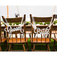 Chair Signs for Wedding, Hanging Chair Signs Rustic Wedding Signs Bride & Groom Wedding Decoration Party Supplies(China)