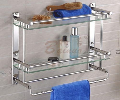 2 Tier Bathroom Shelf Rack with Double Glass Towel Rail Holders ...