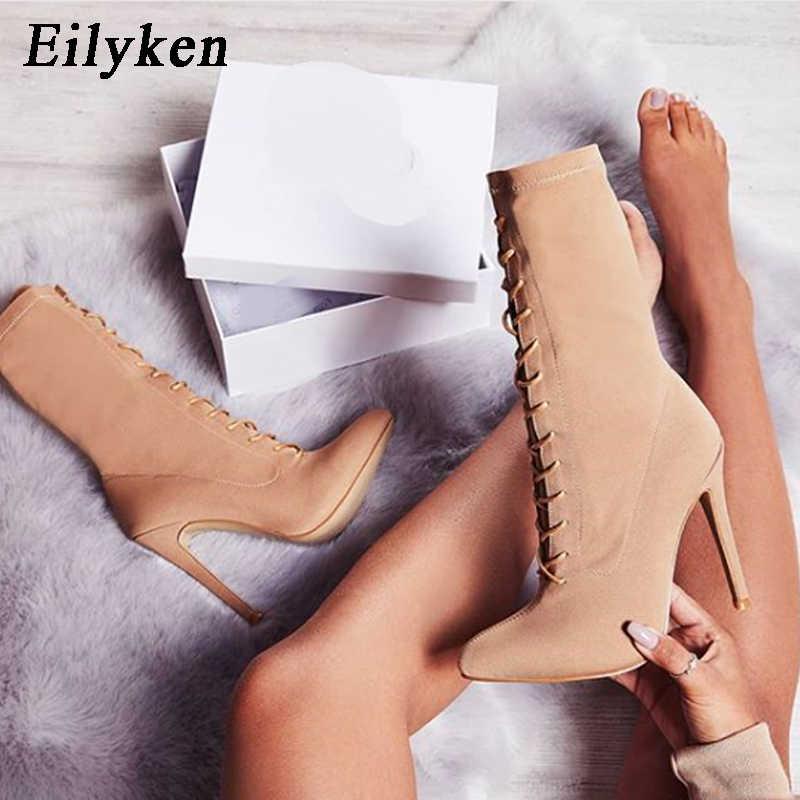 Eilyken automne hiver Stretch tissu à lacets bottes bout pointu bottes à talons hauts Sexy bottines pour femme chaussettes femmes bottes