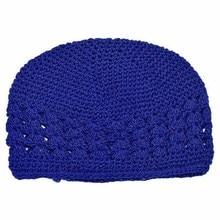 Новорожденной Девочки Cap Дети Теплая Зима Симпатичные Крючком Вязаная Шапка шапочка Шапочка (Цвет: синий)