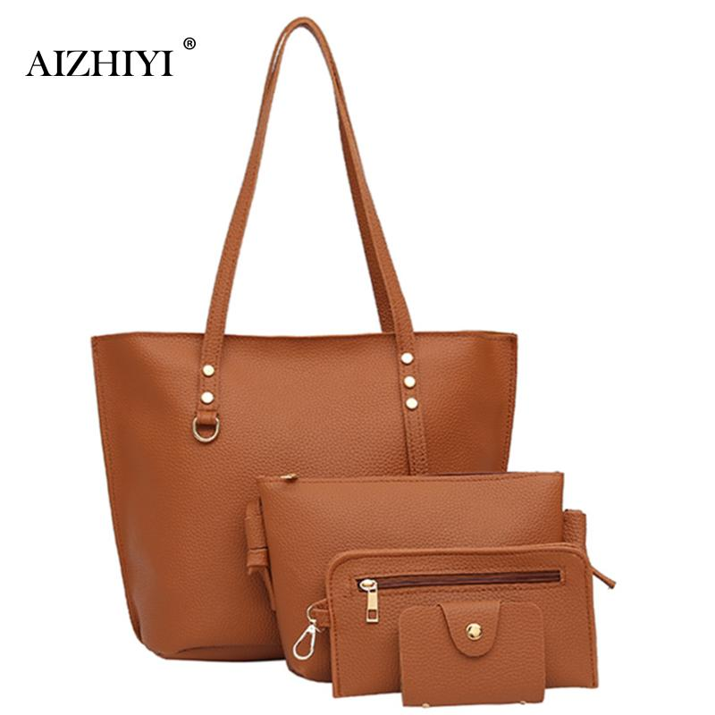 4Pcs/Set Woman Bag High Quality Female Solid Tote Bag PU Leather Composite Bags Women Handbag Shoulder Bags Purses Bolsas Set women shoulder bags for female fashion pu leather handbags chain solid shoulder bag mini bags woman messenger bag purses d38m12