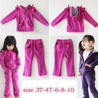 Girls Long Sleeved Suits 2014 Autumn Winter New Fashion Girl S Children Casual Hooded Two Piece