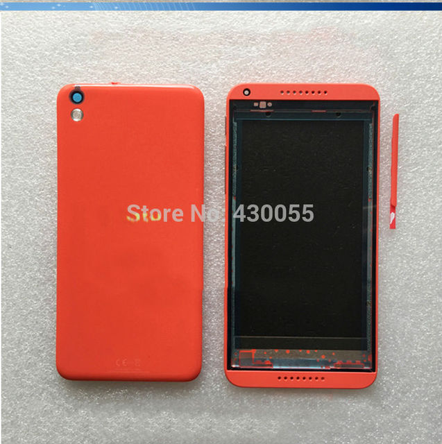 Orange Полный жилья 100% Новый Задняя Крышка Батарейного Отсека + Передняя Лицевая Панель + ButtonsFor HTC Desire 816 D816T D816W 816D