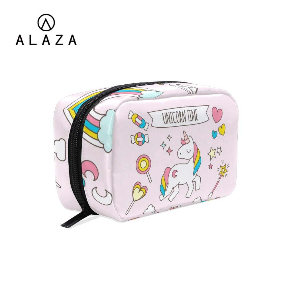 ALAZA Cute Unicorn Organizer Travel Fashion Lady Cosmetics Cosmetic Bag Beautician Storage Bags Large Capacity Women Makeup Bag