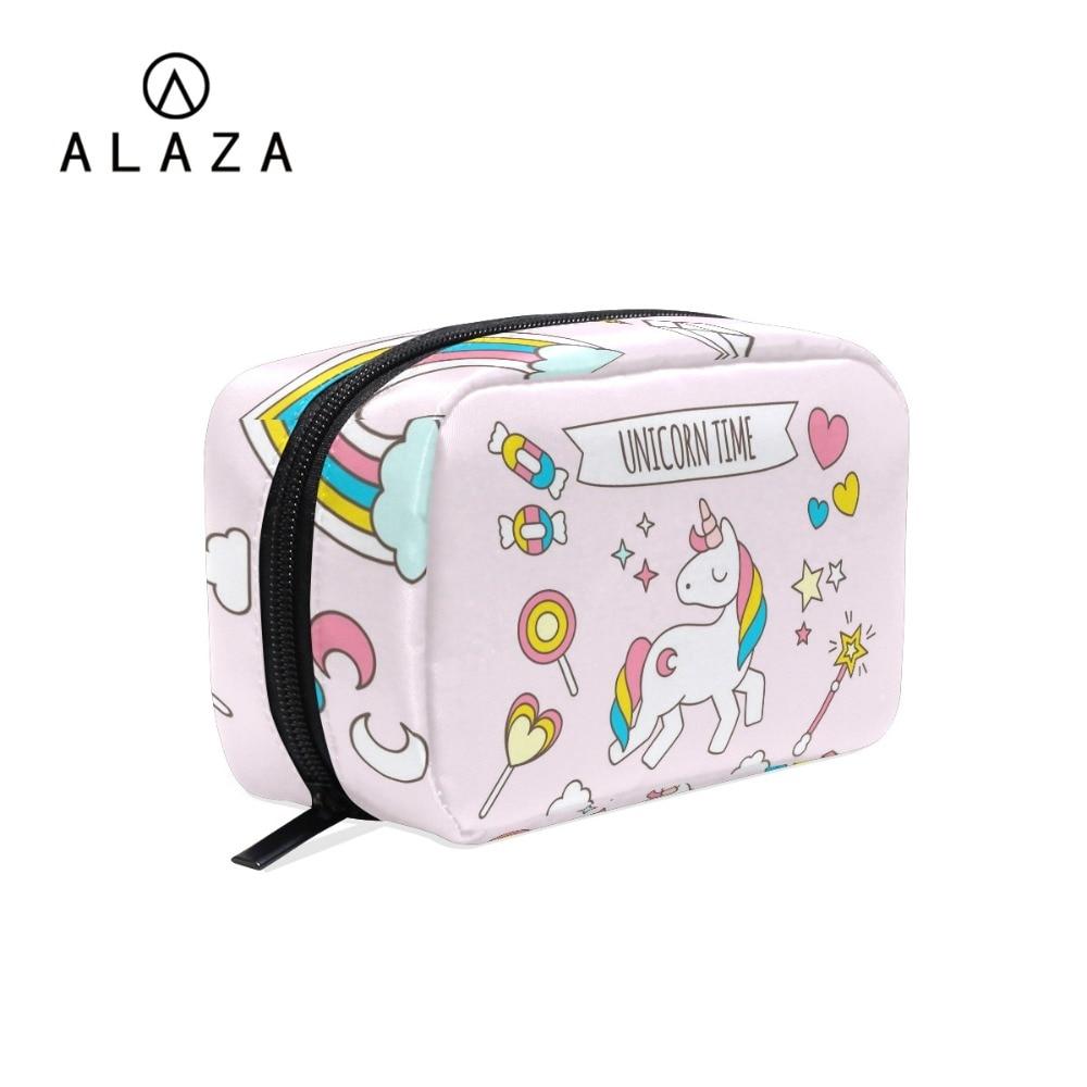 ALAZA Cute Unicorn Organizer Travel Fashion Lady Cosmetics Cosmetic Bag Beautician Storage Bags Large Capacity Women Makeup Bag