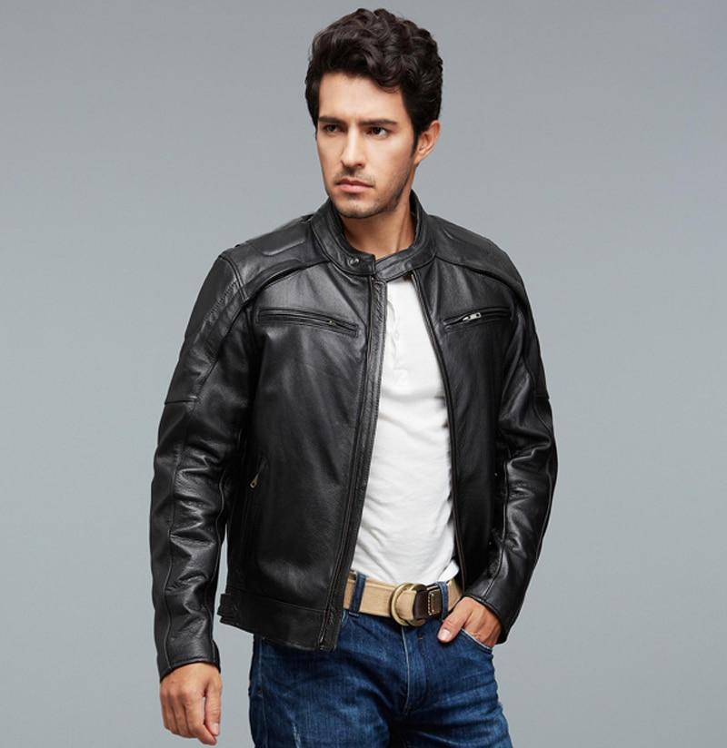 Male Black Leather Jacket - Coat Nj