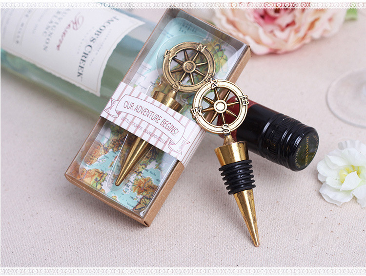 New wedding Favor 60pcs retro alloy compass wine stopper wedding supplies business gifts champagne stopper wedding