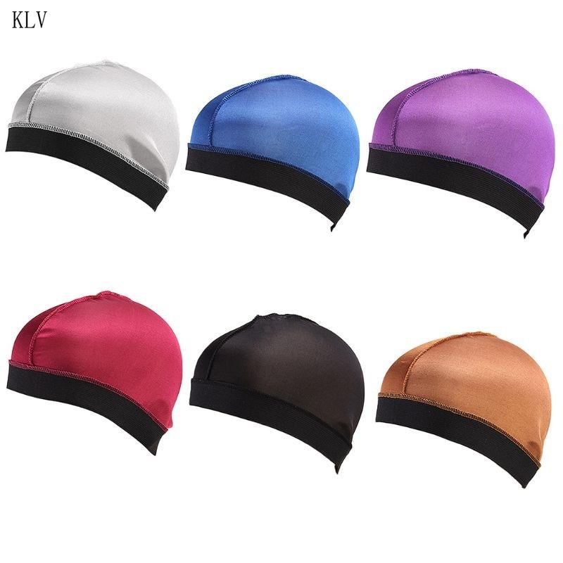 Men Women Unisex Faux Silk Bonnet Hair Loss Cap Solid Color Widen Elastic Band Headwrap Stretchy Seam Basic Chemo Hat 6 Colors