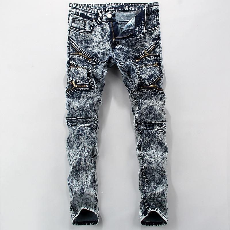2017 font b men b font font b jeans b font snow Color printing design straight