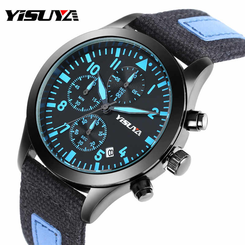 fde828a9d Detail Feedback Questions about YISUYA Male Watches Luxury Pilot Mens  Chronograph Calendar Casual Canvas Band Cool Luminous Analog Wrist Quartz  Watch ...