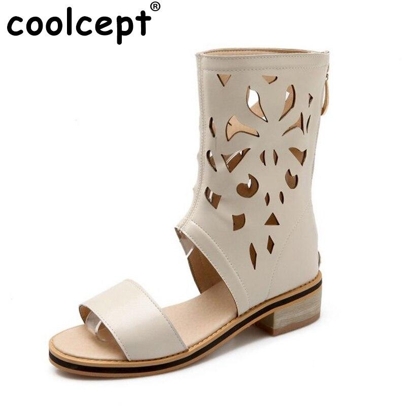 fbb26c662 Marca nova roma mulheres sandálias tetro tampa da forma do salto quadrado  sapatos de salto com zíper fretwork calçados das senhoras grande tamanho  30-50 ...