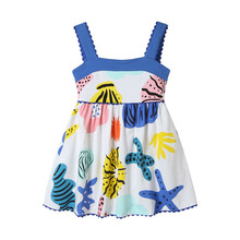 Little Bitty sleeveless summer dresses baby girls top quality cartoon dress with printed some Marine life animals cute dress