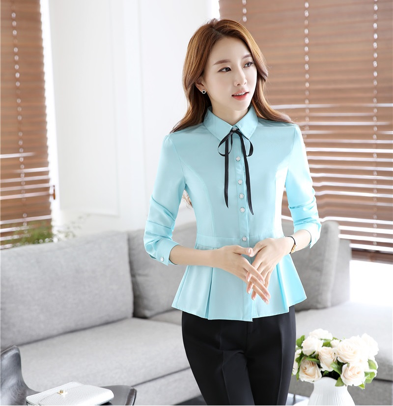 44e7cba282 US $17.86 5% OFF Spring Autumn Fashion Ladies Work Blouses Women Sky blue  Shirts Long Sleeve Office Uniform Blouses and Tops Female-in Blouses & ...