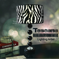 Black Leather Lampshade Crystal Ball Zebra Marble Base Table Lamp Modern Minimalist Neoclassical