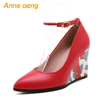 Spring/Autumn Women Pumps Ankle Strap Pointed Toe High Wedge Heel Shoes Fashion Sexy Ladies Women Shoes Red High Heels Big Size