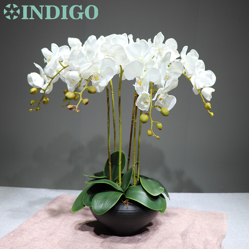 INDIGO 9pcs lot Flower Arrangment Orchids With Leaves Real Touch Flower Table Wedding Party Decorative Event