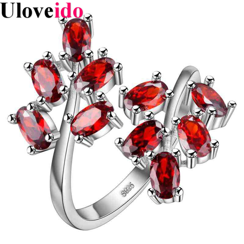 Uloveido Red Adjustable Tree Leaf Rings for Women Silver