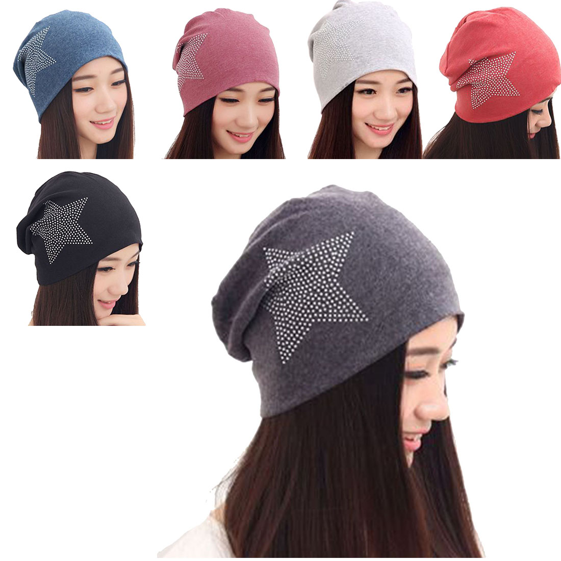 Classic Style Autumn Winter Women Knit Baggy Beanie Hat Star Warm Hats Beanies Headdress