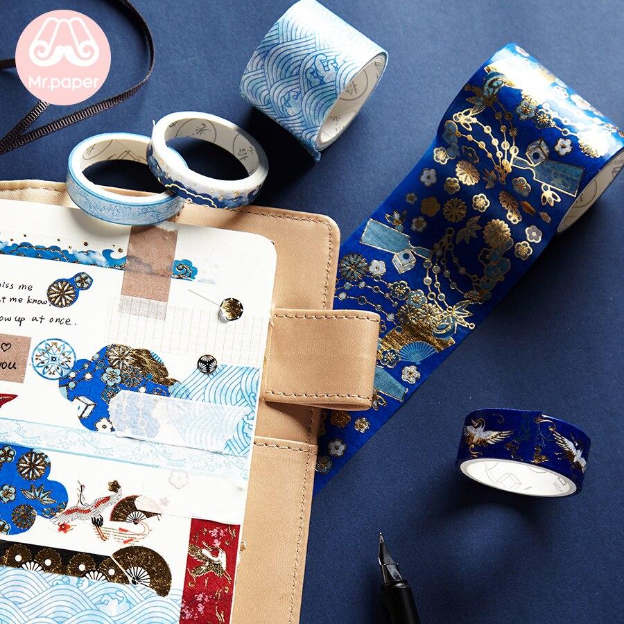 Mr Paper 5pcs/set 16 Designs Gold/Sliver Stamping Chinoiserie Crane Sakura Washi Tape Scrapbooking Planner Deco Masking Tapes 4