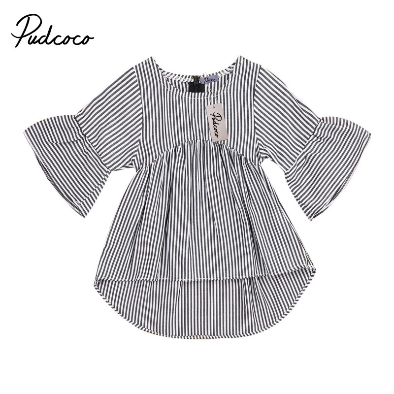 Summer Spring <font><b>Baby</b></font> Girls Top T-<font><b>Shirts</b></font> Toddler <font><b>Baby</b></font> Girls Stripes wide <font><b>long</b></font> <font><b>sleeves</b></font> irregular hem girls <font><b>long</b></font> style t-<font><b>shirts</b></font> 0-18M image