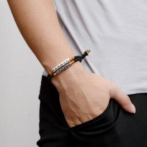 Image 5 - 2019 ręcznie pleciona bransoletka dla mężczyzn 925 Sterling Silver om mani padme hum grawerowane Bend urok podwójna warstwa szczęście Rope Chain