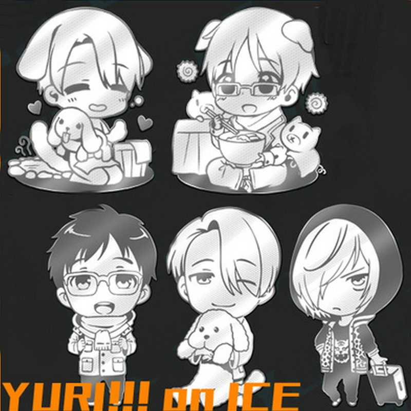 5pcslot YURI!!! on ICE Anime Metal Decal Stickers for Mobile Phone Laptop Sticker Scrapbook DIY Stickers