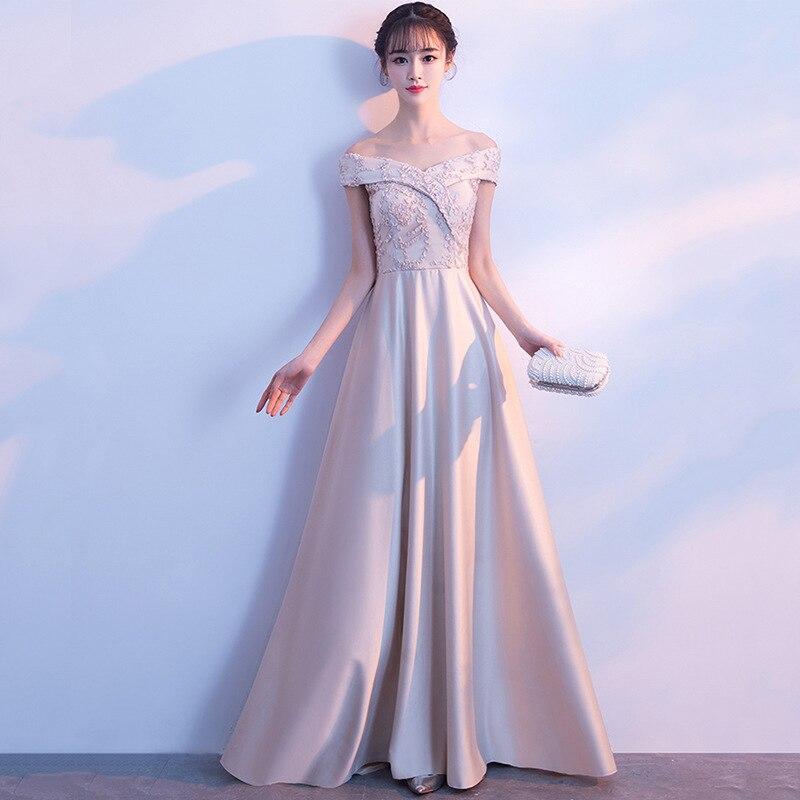 Mingli Tengda Romantic Dress Banquet Long Bridesmaid Dress Champage Lace Boat Neck Wedding Guest Dress