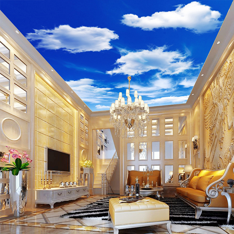 Custom Wall Murals Painting Blue Sky And White Clouds Ceiling Modern Designs 3D Living Room Bedroom Ceiling Wall Mural Wallpaper blue sky white clouds photo wallpaper custom ceiling mural hotel dining room living room frescoes home decor papel de parede 3d