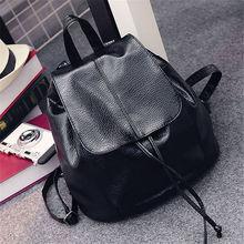 PU Black Washer Women Backpack Korean Version of the Shoulder Bag Female Girl Backpack Covered Small Backpack School Backpack